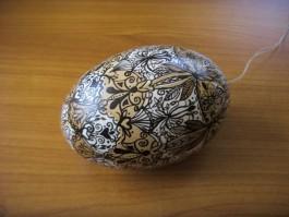 Großes Nandu - Ei in dunkelbraun und beige