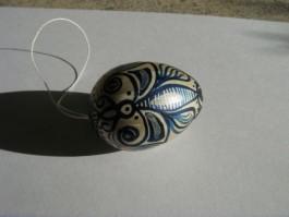 Kleines Ei in silber und dunkelblau