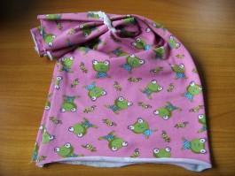Schalütze mit hübschen Froschstoff in rosa und weißer Borde