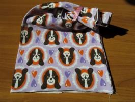 Schalütze dehnbar aus lila Hundestoff