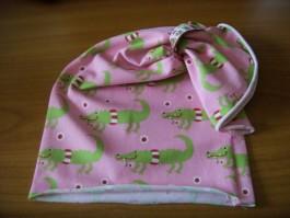 Schalütze dehnbar mit rosanem Krokodilstoff