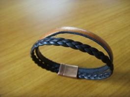 Armband, 2 Bänder einfach umwickelt, aus bronce und braun - geflochtenem Leder