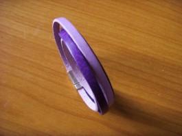 Armband, 2 Bänder zweifach umwickelt, aus lilanen und hellila Leder