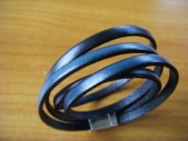 Armband zweifach aus dunkelblauem und schwarzem Leder