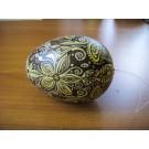 Großes Ei in dunkelbraun, gold und pastellgelb