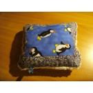 Kuschelkissen quadratisch aus blauem Pinguinstoff