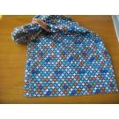 Schalütze dehnbar mit blau-orangnen Musterstoff