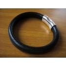 Armband 1 Band einfach umwickelt aus schwarzem Leder