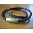 Armband 1 Band zweifach umwickelt aus braunem Leder in Rochenoptik