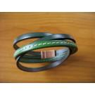 Armband 2 Bänder zweifach umwickelt aus grünem und hellgrünem Leder mit Naht