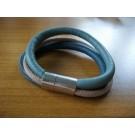 Armband 3 Bänder einfach umwickelt aus türkisem, beigem, petrolfarbenem Leder