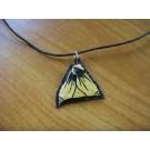 Lederkette dreieckig aus Straußenei gold und schwarz bemalt und schwarzem Leder
