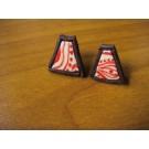 Stecker aus Straußenei rot bemalt mit braunem Leder