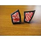 Stecker aus Straußenei rot bemalt mit schwarzem Leder