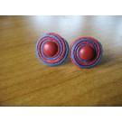 Stecker rund aus dunkelblauen und roten Band